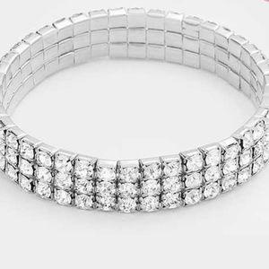 3 Lines Crystal Rhinestone Stretch Bracelet